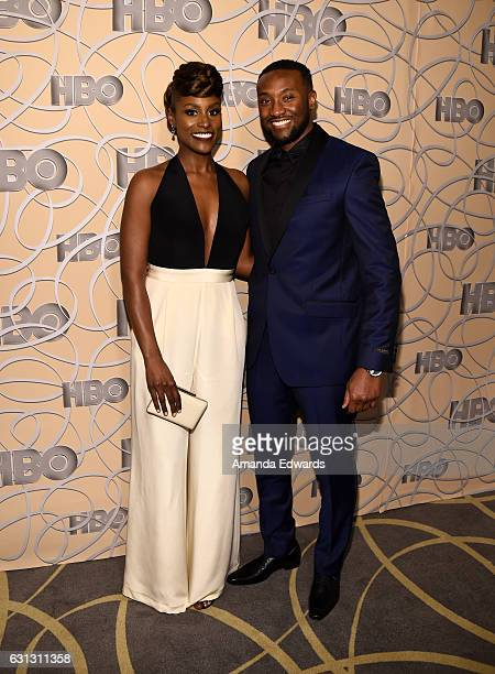 Actress Isaa Rae and Louis Diame arrive at HBO's Official Golden Globe Awards After Party at Circa 55 Restaurant on January 8 2017 in Los Angeles...