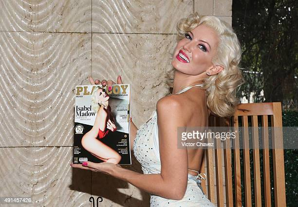 Actress Isabel Madow attends the Playboy Mexico magazine october 2015 issue photocall at Rustic Kitchen on October 5 2015 in Mexico City Mexico