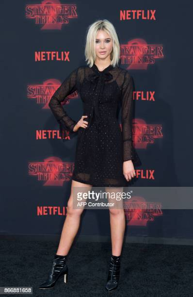 """Actress Isabel May attends Netflix's """"Stranger Things 2"""" premiere on October 26 in Westwood, California. / AFP PHOTO / VALERIE MACON"""
