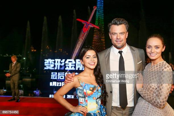 Actress Isabela Moner Actor Josh Duhamel and Actress Laura Haddock attend the 'Transformers The Last Knight' China World Premiere and Ten Year...