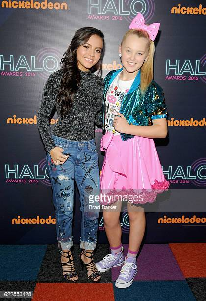 Actress Isabela Moner and JoJo Siwa attend the 2016 Nickelodeon HALO awards at Basketball City Pier 36 South Street on November 11 2016 in New York...