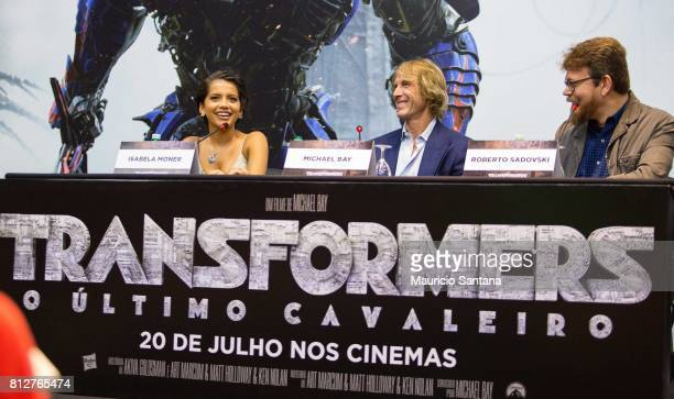 Actress Isabela Moner director Michael Bay and Roberto Sadovski attend the 'Transformers The Last Knight' Latin America press junket at Hotel Unique...
