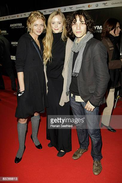 Actress Isabell Gerschke and actor Sebastian Urzendowsky and actress Wanda Perdelwitz attends the premiere of 'Anonyma a woman in Berlin' at the...