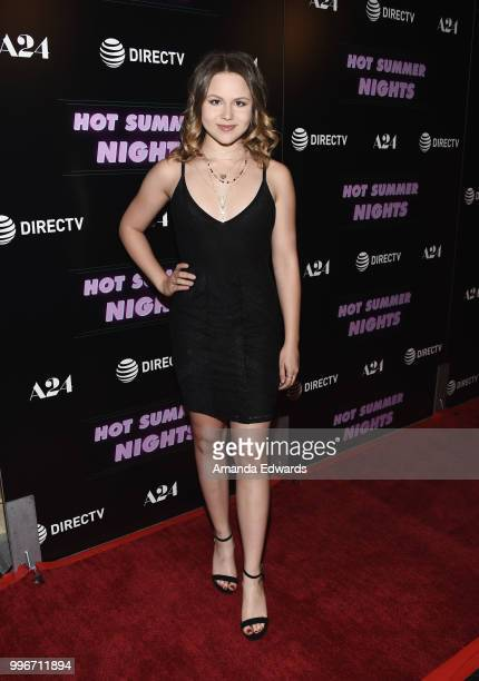 Actress Isabella Acres arrives at the Los Angeles special screening of 'Hot Summer Nights' at the Pacific Theatres at The Grove on July 11 2018 in...