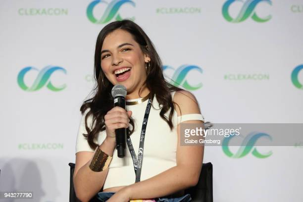 Actress Isabella Gomez speaks at the One Day at a Time panel during the ClexaCon 2018 convention at the Tropicana Las Vegas on April 7 2018 in Las...