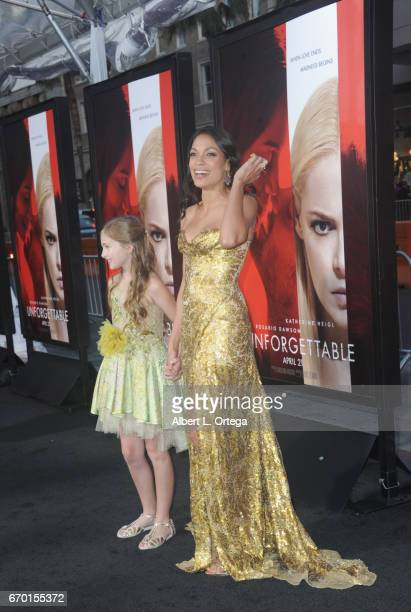 Actress Isabella Kai Rice and actress Rosario Dawson arrive for the Premiere Of Warner Bros Pictures' Unforgettable held at TCL Chinese Theatre on...