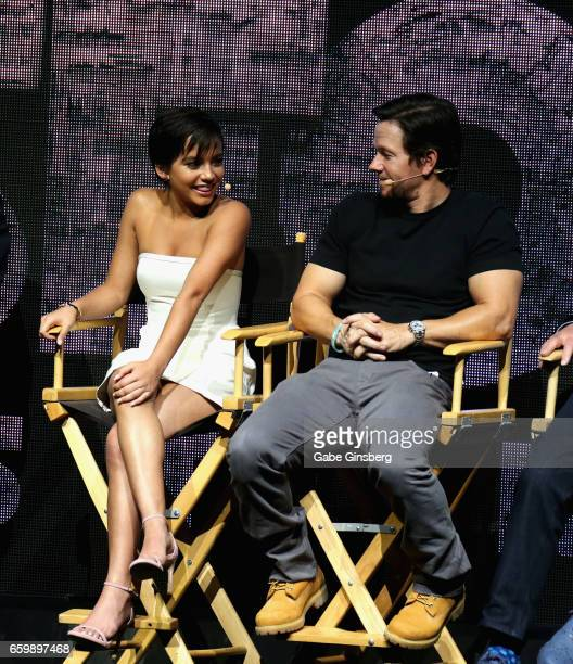 Actress Isabella Moner and actor Mark Wahlberg speak at Paramount Pictures' presentation highlighting its 2017 summer and beyond during CinemaCon at...
