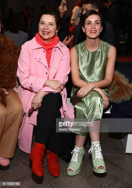 Actress Isabella Rossellini and Nur Elektra El Shami pose for photos at Sies Marjan during New York Fashion Week at Penn Plaza Pavilion on February...