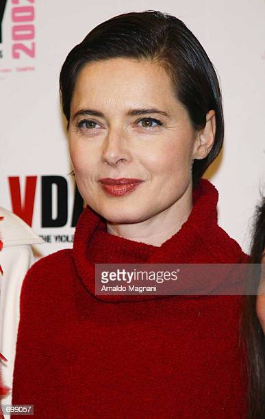 Actress Isabella Rossellini attends a VDay party for the Vagina Monologues February 16 2002 at the Hammerstein Ballroom in New York City Rossellini...