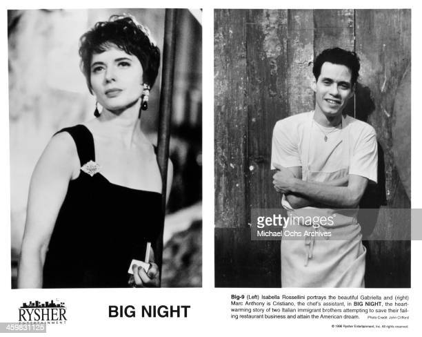 Actress Isabella Rossellini on set actor Marc Anthony on set of the movie Big Night circa 1996