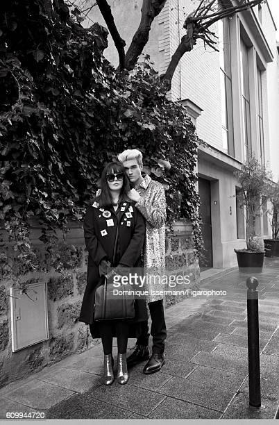 Actress Isabelle Adjani and actor/son GabrielKane DayLewis are photographed for Madame Figaro on April 4 2016 in Paris France Isabelle Coat dress...
