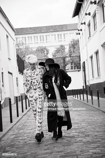 Actress Isabelle Adjani and actor/son GabrielKane DayLewis are photographed for Madame Figaro on April 4 2016 in Paris France Isabelle Coat dress hat...