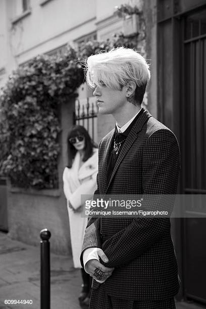 Actress Isabelle Adjani and actor/son GabrielKane DayLewis are photographed for Madame Figaro on April 4 2016 in Paris France Isabelle Coat brooch...