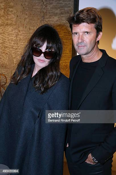 Actress Isabelle Adjani and CEO of Mazarine Group and Founder of 'Studio des Acacias' PaulEmmanuel Reiffers attend the 'New American Art' Exhibition...