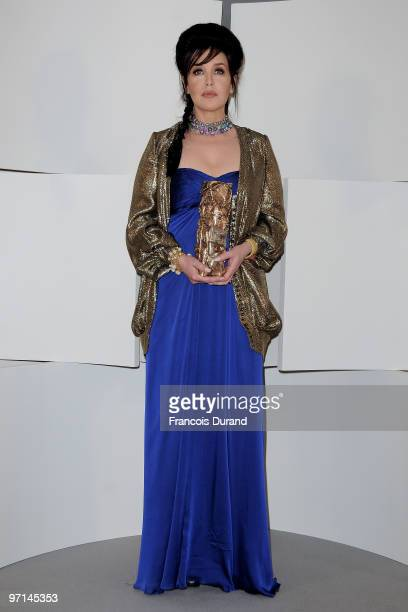 Actress Isabelle Adjani poses after she received Best Actress Cesar Award during 35th Cesar Film Awards at Theatre du Chatelet on February 27, 2010...