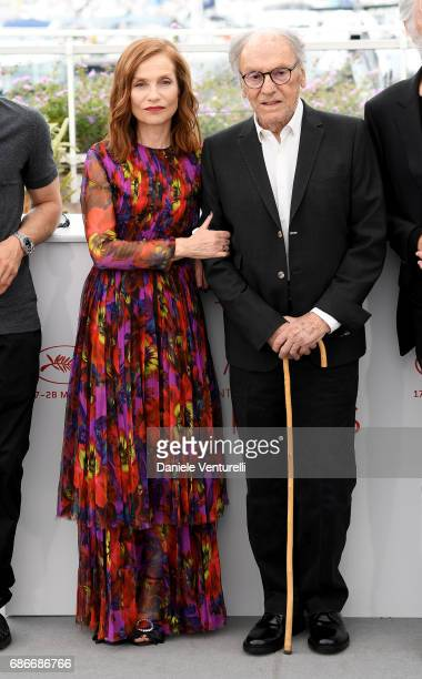 Actress Isabelle Huppert and actor JeanLouis Trintignant attend the 'Happy End' photocall during the 70th annual Cannes Film Festival on May 22 2017...