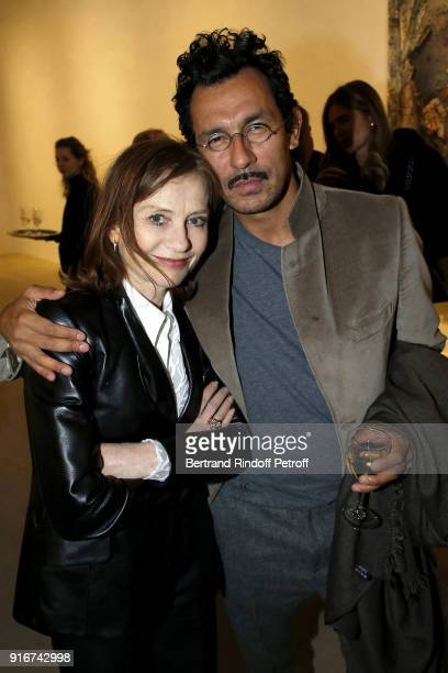 Actress Isabelle Huppert and Designer Haider Ackermann attend the 'Fur Andrea Emo' Anselm Kiefer's Exhibition at Thaddeus Ropac Gallery on February...