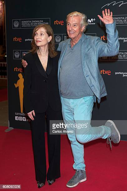 Actress Isabelle Huppert and director Paul Verhoeven attend 'Elle' premiere during 64th San Sebastian International Film Festival at Victoria Eugenia...