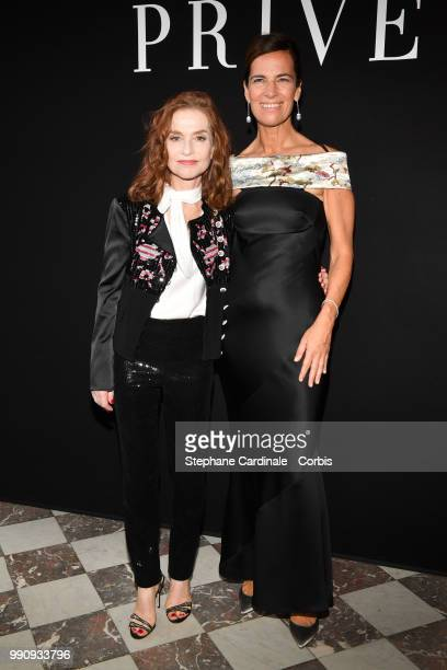Actress Isabelle Huppert and Roberta Armani attend the Giorgio Armani Prive Haute Couture Fall/Winter 2018-2019 show as part of Haute Couture Paris...