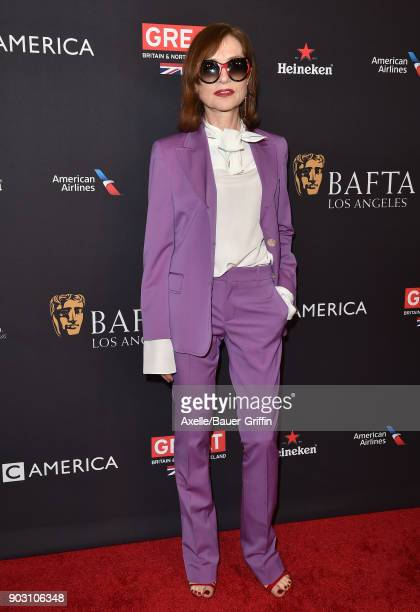 Actress Isabelle Huppert arrives at The BAFTA Los Angeles Tea Party at Four Seasons Hotel Los Angeles at Beverly Hills on January 6 2018 in Los...