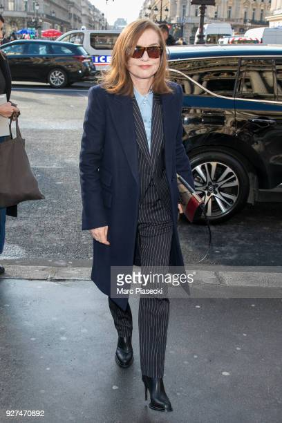 Actress Isabelle Huppert arrives to attend the Stella McCartney fashion show on March 5 2018 in Paris France