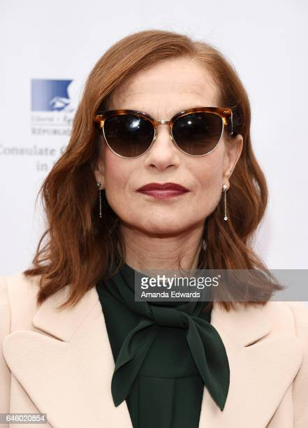 Actress Isabelle Huppert attends a reception honoring the French nominees for The 89th Academy Awards at La Residence de France on February 27 2017...
