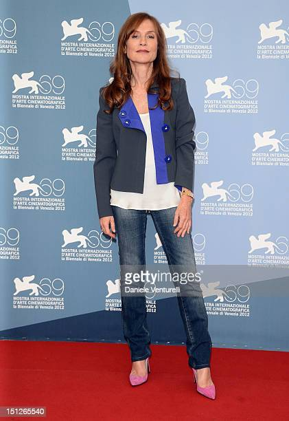 Actress Isabelle Huppert attends 'Bella Addormentata' Photocall during the 69th Venice Film Festival at the Palazzo del Casino on September 5 2012 in...