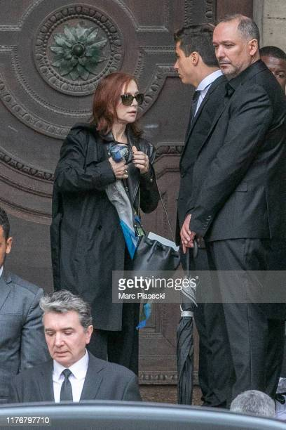 Actress Isabelle Huppert attends Peter Lindbergh's funeral at Eglise Saint-Sulpice on September 24, 2019 in Paris, France.