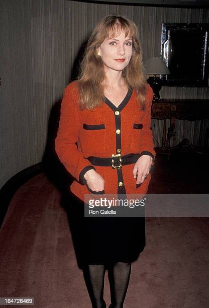 Actress Isabelle Huppert attends the 15th Annual Los Angeles Film Critics Association Awards on January 16 1990 at the Bel Age Hotel in West...