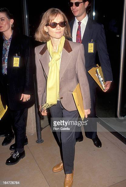 Actress Isabelle Huppert attends the 49th Annual Golden Globe Awards Rehearsals on January 17 1992 at the Beverly Hilton Hotel in Beverly Hills...