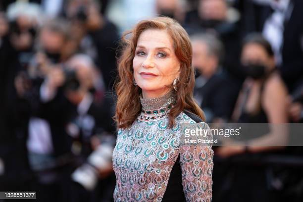 """Actress Isabelle Huppert attends the """"Aline, The Voice Of Love"""" screening during the 74th annual Cannes Film Festival on July 13, 2021 in Cannes,..."""