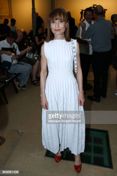 Actress Isabelle Huppert attends the Azzedine Alaia Fashion Show as part of Haute Couture Paris Fashion Week Held at Azzedine Alaia Gallery on July 5...