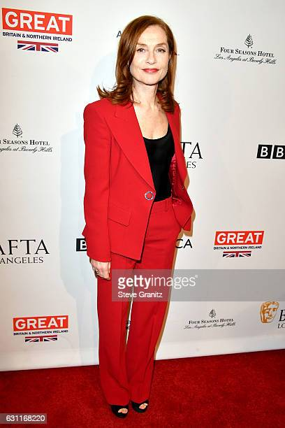 Actress Isabelle Huppert attends The BAFTA Tea Party at Four Seasons Hotel Los Angeles at Beverly Hills on January 7 2017 in Los Angeles California