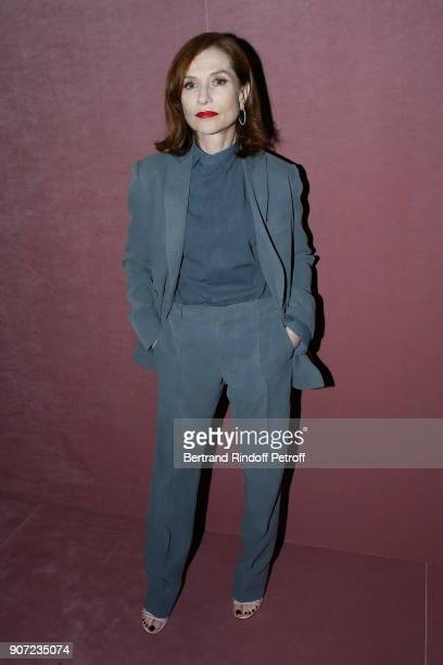Actress Isabelle Huppert attends the Berluti Menswear Fall/Winter 20182019 show as part of Paris Fashion Week on January 19 2018 in Paris France