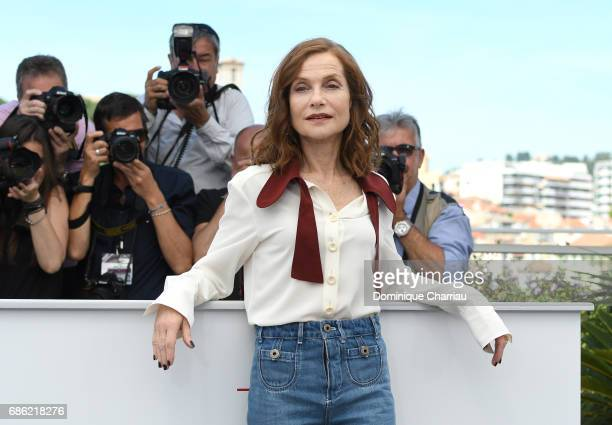 Actress Isabelle Huppert attends the Claire's Camera photocall during the 70th annual Cannes Film Festival at Palais des Festivals on May 21 2017 in...