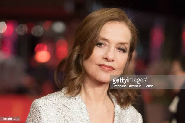 Actress Isabelle Huppert attends the 'Eva' premiere during the 68th Berlinale International Film Festival Berlin at Berlinale Palast on February 17...