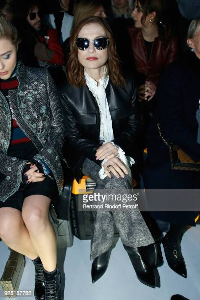 Actress Isabelle Huppert attends the Louis Vuitton show as part of the Paris Fashion Week Womenswear Fall/Winter 2018/2019 on March 6 2018 in Paris...
