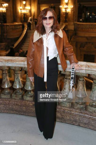 Actress Isabelle Huppert attends the Stella McCartney show as part of the Paris Fashion Week Womenswear Fall/Winter 2020/2021 on March 02, 2020 in...