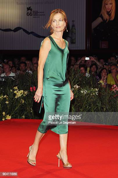 Actress Isabelle Huppert attends the White Material premiere at the Sala Grande during the 66th Venice Film Festival on September 6 2009 in Venice...