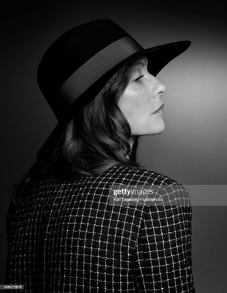 Actress Isabelle Huppert is photographed for Madame Figaro on November 18, 2015 in Paris, France. Jacket, (Chanel), hat (Marison Michel). PUBLISHED IMAGE.