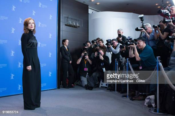 Actress Isabelle Huppert poses at the 'Eva' photo call during the 68th Berlinale International Film Festival Berlin at Grand Hyatt Hotel on February...