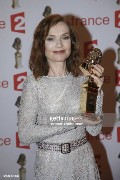 Actress Isabelle Huppert receives a 'Moliere' award during 'La Nuit des Molieres 2017' at Folies Bergeres on May 29 2017 in Paris France