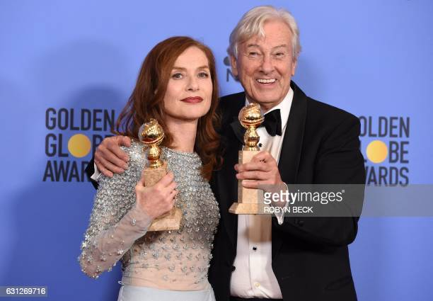 TOPSHOT Actress Isabelle Huppert winner of Best Actress in a Motion Picture Drama for 'Elle' and director Paul Verhoeven winner of Best Foreign...
