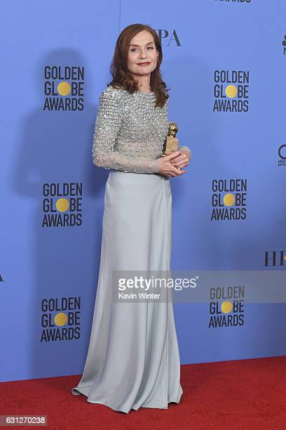 Actress Isabelle Huppert winner of Best Actress in a Motion Picture Drama for 'Elle' poses in the press room during the 74th Annual Golden Globe...