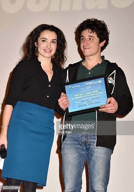 Actress Isabelle Vitari and Best actor Bastien Ughetto attend '1 mobile 1 minute 1 film' As Part Of Mobile Film Festival At Gaumont ChampsElysees...