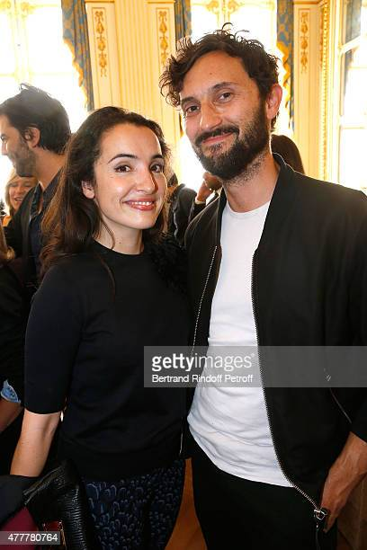 Actress Isabelle Vitari Director Benoit Petre attend French minister of Culture and Communication Fleur Pellerin gives Medal of 'Knight of Arts and...