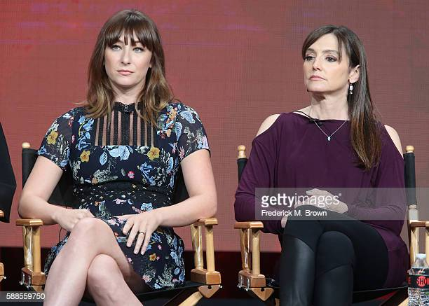 """Actress Isidora Goreshter and executive producer """"Shameless"""" Nancy M. Pimental speak onstage at 'Love & Marriage on TV' panel discussion during the..."""