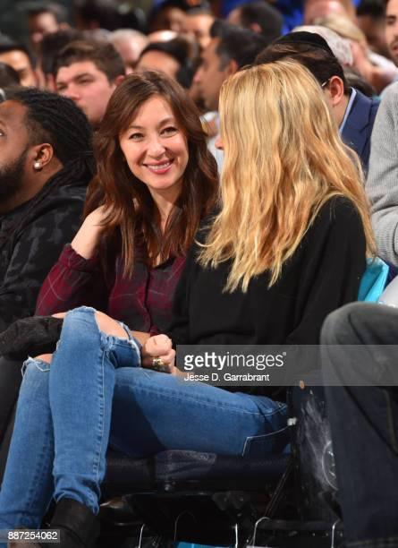 Actress Isidora Goreshter looks on during the New York Knicks against the Memphis Grizzlies at Madison Square Garden on December 6 2017 in New...