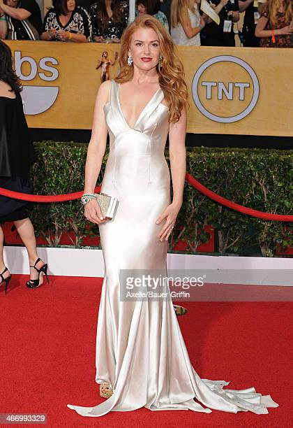 Actress Isla Fisher arrives at the 20th Annual Screen Actors Guild Awards at The Shrine Auditorium on January 18 2014 in Los Angeles California