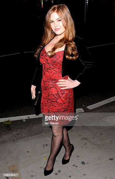 Actress Isla Fisher arrives for the Burke and Hare World Premiere at The Chelsea Cinema on October 25 2010 in London England
